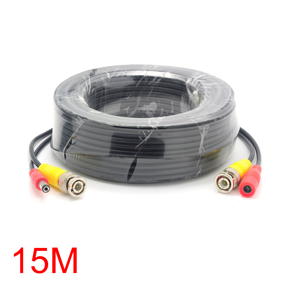 15M/49FT BNC DC Connector Power Audio Video AV Wire Cable For CCTV ...
